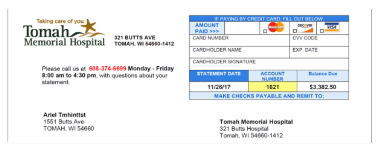 Tomah Billing Statement