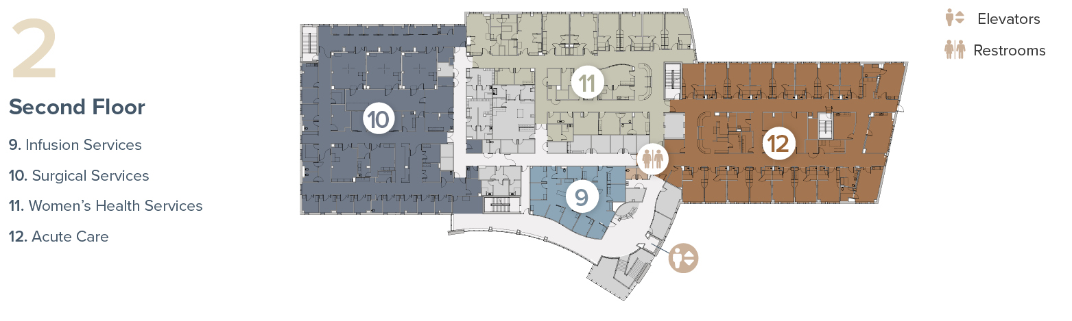 Map of Tomah Health Second Floor