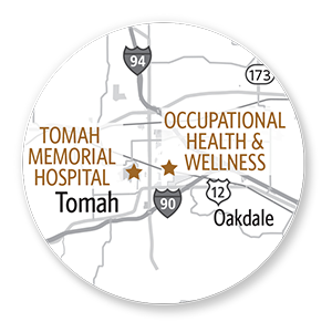 tomah occupational health wellness map